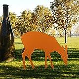 Yahee Edelrost Reh fressend Gartendeko Tier Wild aus Metall mit Stab zum Stecken 80cm Hoch