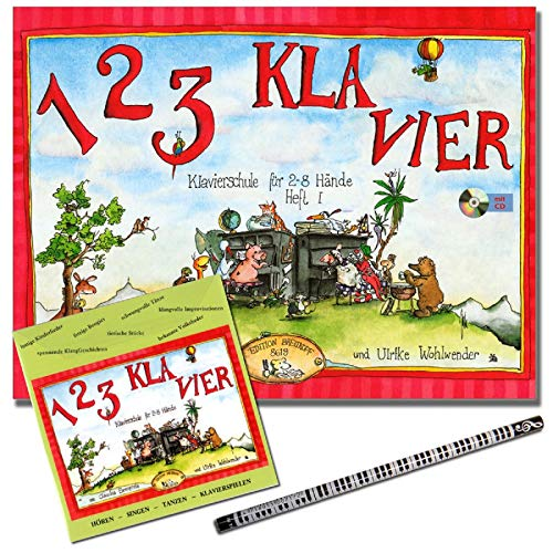 1 2 3 KLAVIER Heft 1 - Klavierschule mit CD von Claudia Ehrenpreis / Ulrike Wohlwender - Klavierunterricht in der Gruppe - mit Piano-Bleistift