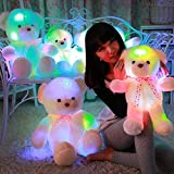 MFEIR Romantic Colorful Flash LED Light Plush Teddy Bear Doll Colorful Shining Led Light Throw Pillow, Lovely Cute Luminous Stuffed Toy Gifts for Kids and Girlfriend Gif 35cm