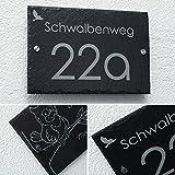 Schiefer Hausnummer & Straße Namen Wunsch-Gravur 1 Motiv Gratis 30x20cm sofort personalisierbar Familienhaus Firmenschild Namensschild versch. Größen auf Anfrage Logo