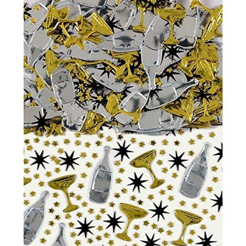 Schwarz, Gold & Silber Champagner Tisch Konfetti Streuseln 14g (5er Pack)