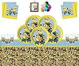 Despicable Me Minions Partyzubehör Kindergeburtstag Geschirr Minions Geburtstag Dekorationen für 32 Gäste-Kostenlose Bilderrahmen und Luftballons