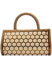 Bagaholics Party Ethnic Clutch Traditional Diamond Studded Clutches With Beads And Pearls Clutches Gift For Women