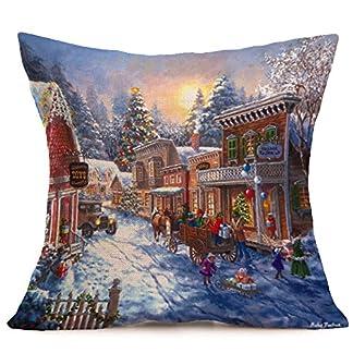 Fossrn Navidad Fundas Cojines 45×45,Patrón de Paisaje Nieve Funda de Almohada Decorativo