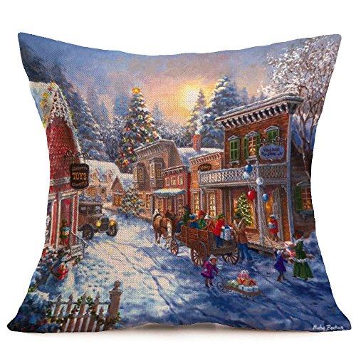 Fossrn Navidad Fundas Cojines 45x45,Patrón de Paisaje Nieve Funda de Almohada Decorativo 01