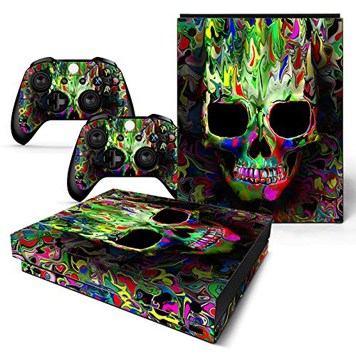 Skin für Xbox One X Konsole und 2 Controller, Motiv: Bunte Totenköpfe