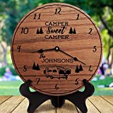 mengliangpu8190 Camper Decor Camper Sweet Camper Custom Last Name Family Name RV Decor Popup Camper Towable RV Camper Dinghy Towed, Clock Only, 12