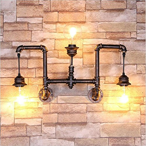 Twin Loft-schlafzimmer (XIAOJIA Europäischen Stil Vintage industrielle Bronzekunst Rohr Wand Lampe Cafe Bar Restaurant Flur Schlafzimmer Wohnzimmer dekorativen Leuchten Beleuchtung Leuchte)