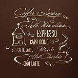 WANDfee Wandtattoo Kaffee Lounge Küche Spruch AA44 Größe B 67 x H 60 cm Farbe beige