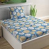 Divine Casa 100% Cotton 104 TC Floral Single Bedsheet Cotton with 1 Pillow Cover - Blue