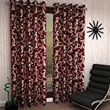 Home Sizzler 2 Piece Eyelet Polyester Door Curtain - 7ft, Maroon