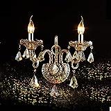 TOYM UK Wohnzimmer Schlafzimmer Kristall Wand Lampe Wand Lampe Gabel Lampe Europäische Kerze Wand Lampe ( Farbe : Double head )