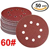 WINGONEER 50PCS Sanding Discs Pads, 5-Inch 8-Hole 60-Grit Gancho y lazo de aluminio de óxido de papel de lija para la orbital orbital Sander