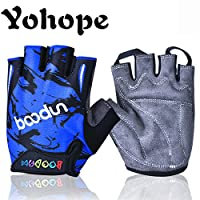 Yohope New style Breathable Half Finger Non-slip Outdoor Sports Cycling Roller Skating Fishing Bicycle Hunting and Climbing Kids bike Gloves Children Bicycle Gloves for Girl and Boy (Blue, Large-hand circumference[7.28-7.87]inchs)