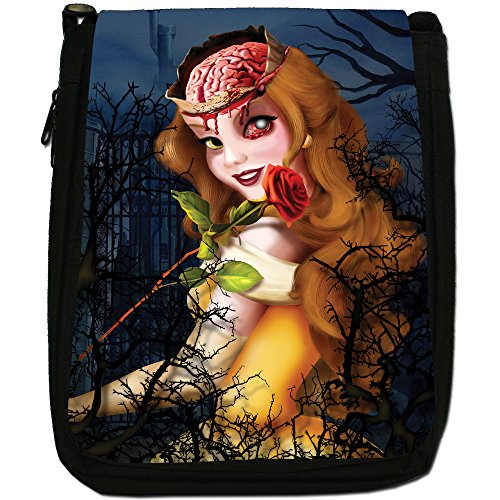 Zombie Princess Favola Happy Ever After Media Nero Borsa In Tela, taglia M Beautiful Zombie Red Rose
