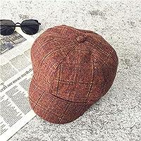 Hat Sombrero Femenino Marea De Otoño E Invierno Británico Tapón Octogonal A Cuadros, Sombrero De Pintor, Sombrero De Calabaza Boina Retro Estudiante Salvaje,Color Caramelo,Un tamaño
