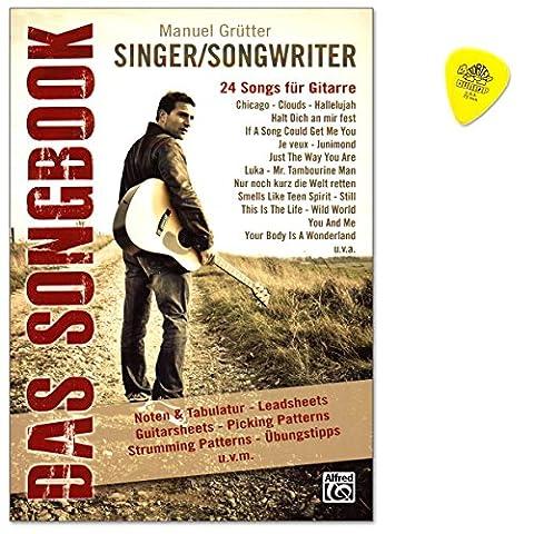 Singer/Songwriter Das Songbook - 24 populäre Singer/Songwriter-Songs mit Leadsheets in Originaltonarten sowie Guitarsheets, detailliert aufbereitet mit Chords a Lyrics, Strumming- und Picking Patterns, Soli, Griffdiagrammen, Übungstipps - Notenbuch mit Original Dunlop (Bob Dylan The Man In Me)