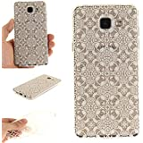 Coque Galaxy A5 (2016) A510 , IJIA Ultra-mince Transparent Chic Fleur Style TPU Doux Silicone Bumper Case Cover Shell Housse Etui pour Samsung Galaxy A5 (2016) A510 + 24K Or Autocollant