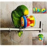LIANCHI 3 Pack 2. 9Inch Cute Pet Dog Cat Bird Bites Toy Parrot Chew Bell Ball Toys Swing Cage Cockatiel Parakeet For Bird Cat Small Medium Dog (A)