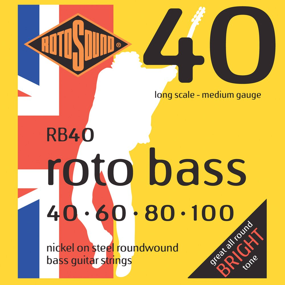 Rotosound Nickel Medium Gauge Roundwound Bass Strings 40 60 80 100 Amazoncouk Musical Instruments