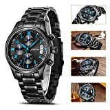 SONGDU Mens Multi-Function Chronograph Quartz Watch With Black Stainless Steel Bracelet DM-9202-P56ELA ——Ideal and Celebrative Gift for Christmas Thanksgiving Day Festival and New Year Sales