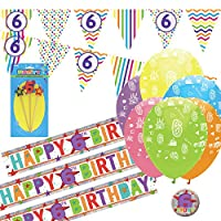 CheerstoYears 6th Birthday Kit: 6th Birthday Bunting, Banners, Balloons, Candle
