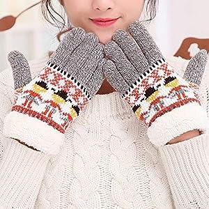 WWF Herbst Und Winter Warme Doppelte Verdickung Innere Schicht Plus SAMT Cartoon-Muster Fünf-Finger-Handschuhe Wolle Stricken Finger Handschuhe
