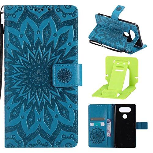 LG V20 Hülle,LG V20 Hülle Flip Case,Ekakashop Retro Blau Sonnenblume Muster Bookstyle PU Lederhülle Tasche Schutzhülle Schale Weichen Silikon Klapptasche Etui Magnetverschluß mit Standfunktion Kartenfächer Brieftasche Wallet Case und Lanyard für LG V20 + 1x Kostenlos Ständer (Farbe zufällig)