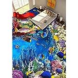 LETAMG Wandsticker Bodenbelag Wand-Aufkleber des Pvc-3D 3D Badezimmer-Bodenbelag-Malerei-Fototapete Der Weltfisch-3D Für Wände 3D