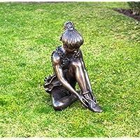 Bronzefigur 'Sitzende Ballerina mit Rüschenkleid'