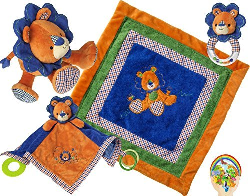 Mary Meyer Baby Boy Delight: Levi Lion confortable et Activité couvertures, jouets, Rattle - Bleu / Orange Newborn Set de 4 Favoris avec Bonus Animaux Autocollant