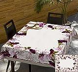 140x220 creme rosa pink erika lila Blumen 100% Baumwolle Tischdecke Tischtuch ornamente Form fleckgeschützt wasserabweisendes Material pflegeleicht praktisch Blumenmuster Blumenmotive Modern Folk Frühling Flower2