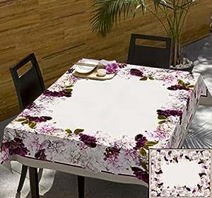 140x240 creme rosa pink erika lila Blumen 100% Baumwolle Tischdecke Tischtuch ornamente Form fleckgeschützt wasserabweisendes Material pflegeleicht praktisch Blumenmuster Blumenmotive Modern Folk Frühling Flower2