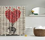 eureya rot Herz Elefant Bad Vorhang für die Dusche mit Schimmelresistent Wasserdicht Polyester Stoff 12Haken Maschinenwaschbar 182,9x 182,9cm