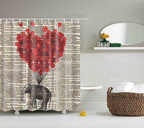 Rot Haken Dusche (eureya rot Herz Elefant Bad Vorhang für die Dusche mit Schimmelresistent Wasserdicht Polyester Stoff 12Haken Maschinenwaschbar 182,9x 182,9cm)