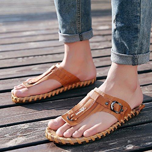 Tongs d'été pour hommes, pieds antidérapants en caoutchouc, des chaussons de plage occasionnels XXCWN Light brown
