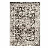 Teppich Flachflor Vintage-Teppich mit Orientalischen Muster Grau Mink für Wohnzimmer Größe 80/150 cm