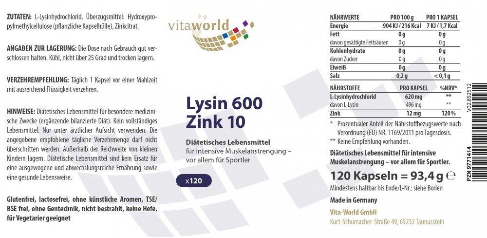 Vita World L-Lysine 600mg + Zinc 120 Vegetarian Capsules Made in Germany