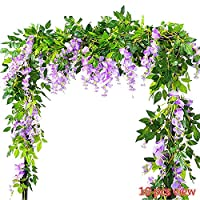 Meiliy Artificial Flowers Vine 2 Pcs 6.6ft Fake Silk Wisteria Ivy Vine Rattan Hanging Garland for Home Party Wedding Decor, Purple