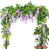 Meiliy - Fiori artificiali, 2pezzi, 200cm, glicine artificiale in seta e rattan, ghirlanda da appendere per decorare casa e feste di nozze Purple