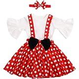 OBEEII Neonato Salopette Abitini Polka Dots + Fascia Ragazze Vestito Principessa per Natale Halloween Festa Cerimonia…
