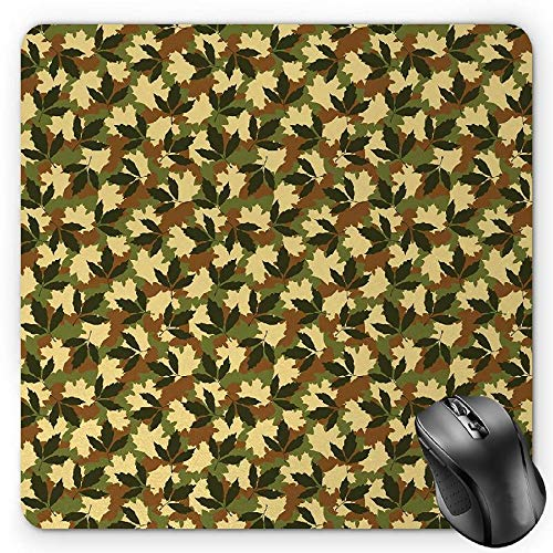 HYYCLS Forest Green Mauspads, Leafage Pattern with Nature Theme Camo Style Forest Woodland Hiding Design, Standard Size Rectangle Non-Slip Rubber Mousepad, Multicolor -