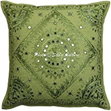 Espejo indio bordado funda de cojín de algodón verde 16x16 Resumen almohada de la sala de estar