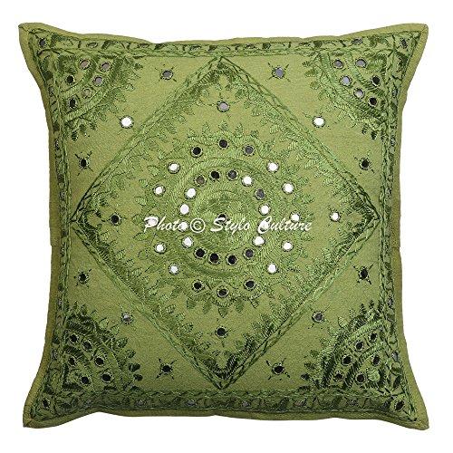 Stylo Culture Espejo Indio Bordado Funda de cojín de algodón Verde 16x16 Resumen Almohada de la Sala...