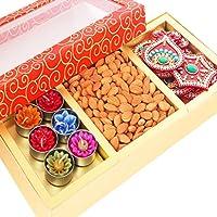 Ghasitaram Gifts Orange Hamper Box with T-lites, Almonds and Rangoli