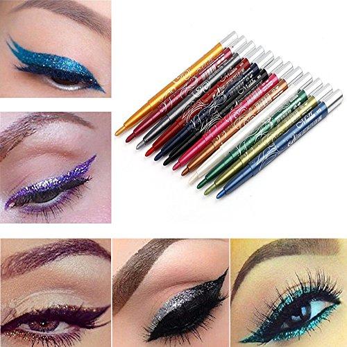 99L'amour 12PC Couleur Eyeliner Crayon Eye Liner Imperméable À L'eau Durable Oeil Éclaircir,cosmétique scintillement Matte ombre palettes Eye maquillage ensemble par (12PCS)