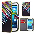 32nd® Design book wallet PU leather case cover for Samsung Galaxy S3 Siii i9300 + screen protector and cleaning cloth - Shooting Stars