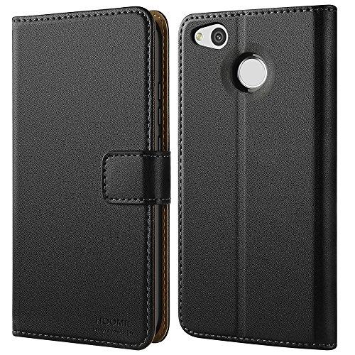 HOOMIL Handyhülle für Xiaomi Redmi 4X Hülle, Premium PU Leder Flip Schutzhülle für Xiaomi Redmi 4X Tasche, Schwarz