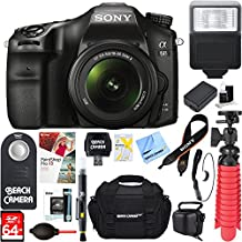 Sony ILCA68K/B A68 A-Mount 24.2MP Digital Camera With 18-55mm Zoom Lens (Black) + 64GB Deluxe Accessory Bundle