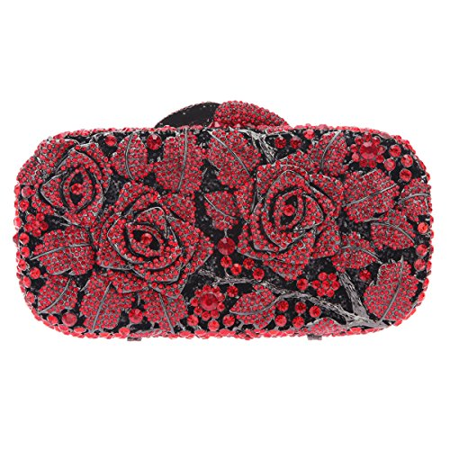 Bonjanvye Glitter Floral Clutch Purse for Girls Crystal Rhinestone Handbag Rose Gold Pure red